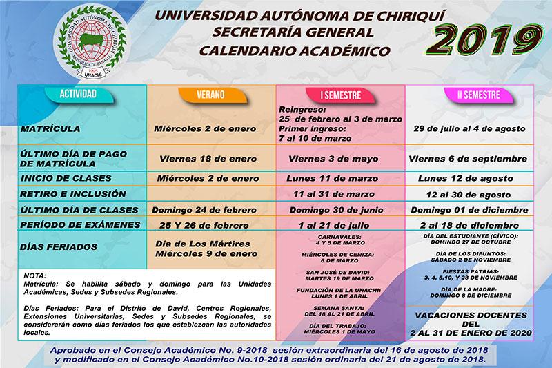 Calendario Universitario.Universidad Autonoma De Chiriqui